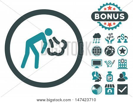 Cough icon with bonus pictures. Vector illustration style is flat iconic bicolor symbols, soft blue colors, white background.