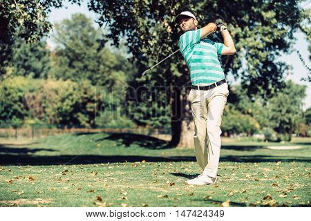 Golfer on the course, toned image, green, horizontal image