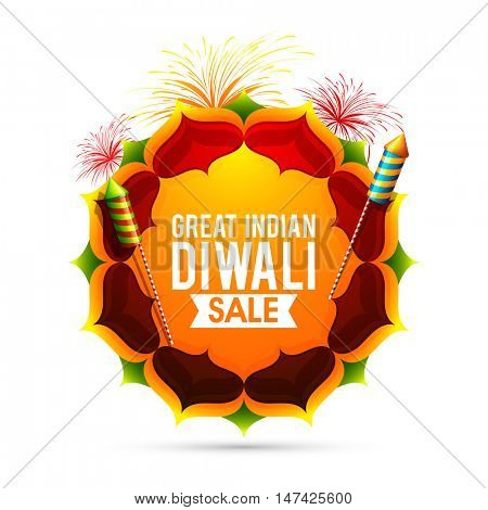 Great Indian Diwali Sale Poster, Biggest Sale Banner, Special Discount Offer Flyer, Festive background with floral rangoli and firework explosion, Indian Festival of Lights celebration concept.