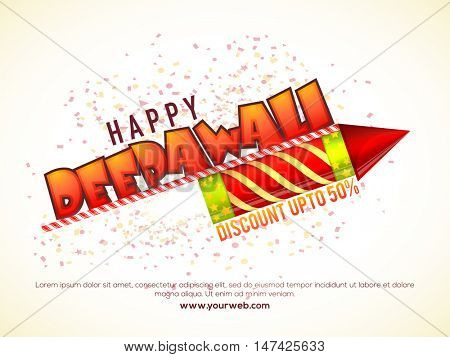 Happy Deepawali Sale with upto 50% discount offer for Indian Festival celebration concept.