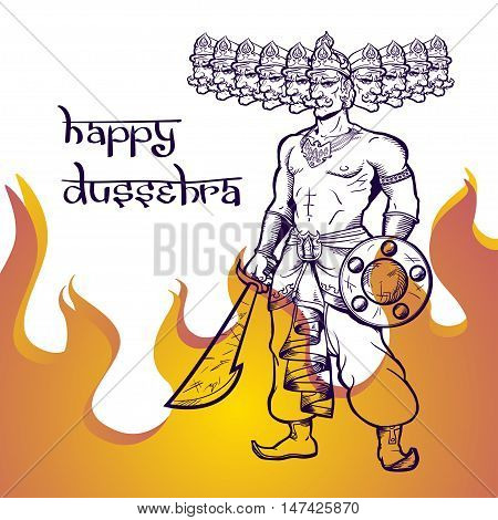 Text and Ravana in fire. Postcard for holiday in India. Happy Dussehra.