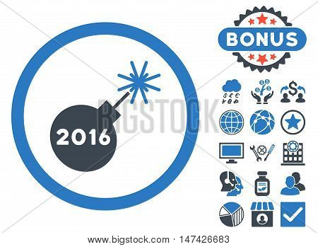 2016 Petard icon with bonus elements. Vector illustration style is flat iconic bicolor symbols, smooth blue colors, white background.