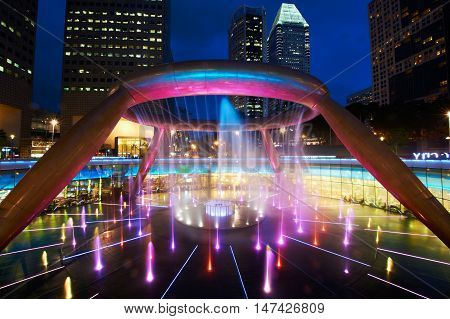 The Fountain of Wealth is listed by the Guinness Book of Records in nineteen nine tie eight as the largest fountain in the world.It is located in one of Singapore's largest shopping malls.