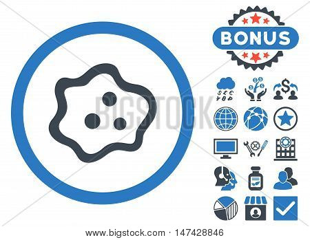 Amoeba icon with bonus pictogram. Vector illustration style is flat iconic bicolor symbols, smooth blue colors, white background.