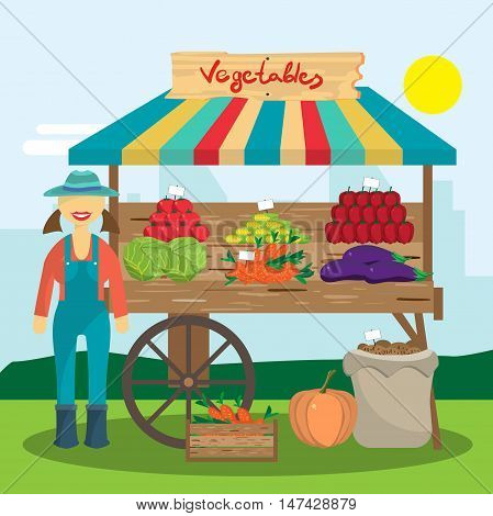 Cultivation of organic products on the farm. Farmer woman produce shopkeeper. Fresh  vegetables, retail business owner working in his store. Cartoon flat vector illustration