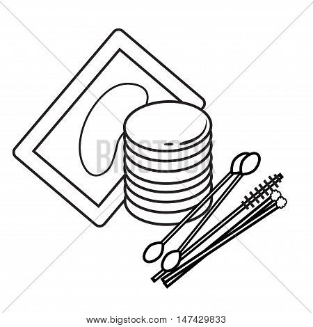 hygiene icons. eyelash Vector Picture lash extentions signs. eye patches. cotton buds poster