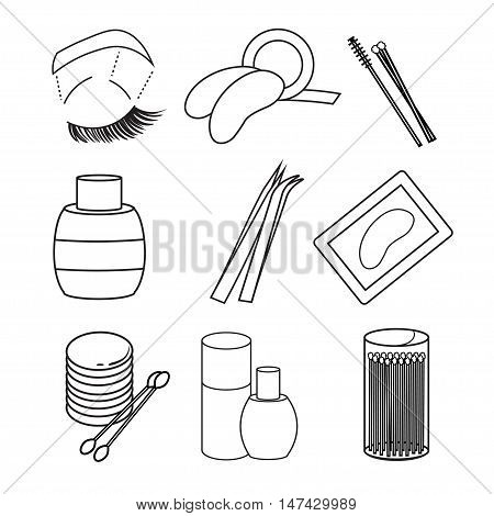 hygiene icons. eyelash Vector Art. Picture lash extentions signs. eye patches. tweezers. beauty and cosmetics. poster