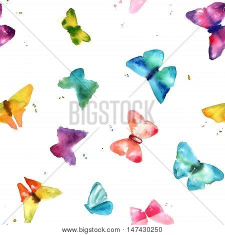 A seamless pattern with abstract freehand watercolour butterflies in teal blue, pink, purple, and yellow, on white background