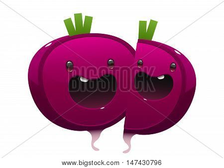 two beet cartoon character bright juicy on a white background isolated