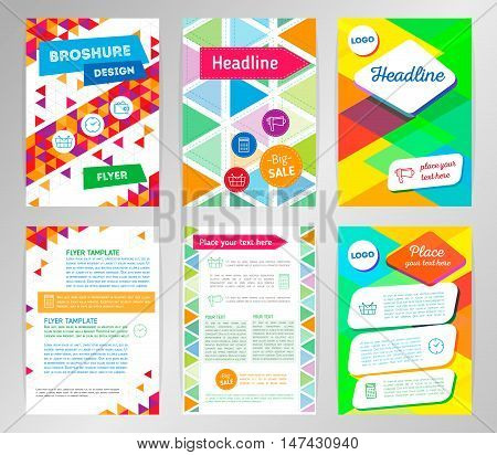 Abstract Triangle Brochure Flyer design vector template in A4 size. Vector Brochure. Flyer design Layout template. Abstract flat design. Modern back and front flyer backgrounds. Geometric vector
