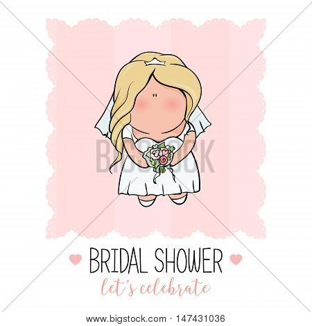 bridal shower. cute girl in wedding dress hending flowers. print on t-shirt. Bachelorette party. Romantic announcement for bridal shower party. invitation or congratulation card in cute doodle style.
