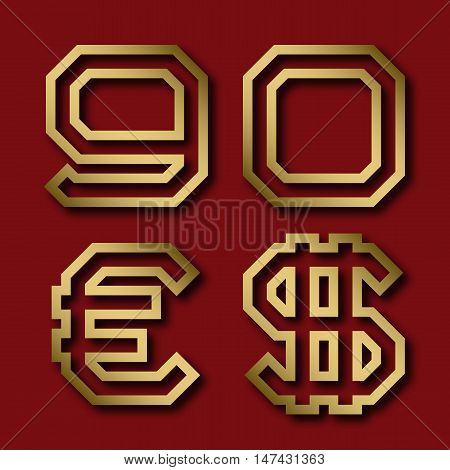 Gold angular nine zero numbers euro and dollar sign with shadow. Trendy and stylish golden font.