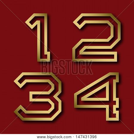One two three four gold angular numbers with shadow. Trendy and stylish golden font.