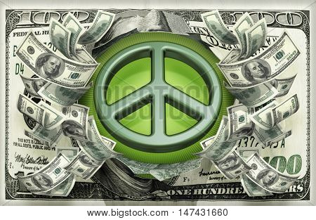 Peace Symbol With Money 3D Illustration