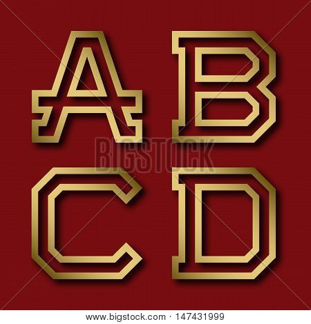 A B C D gold angular letters with shadow. Trendy and stylish golden font.