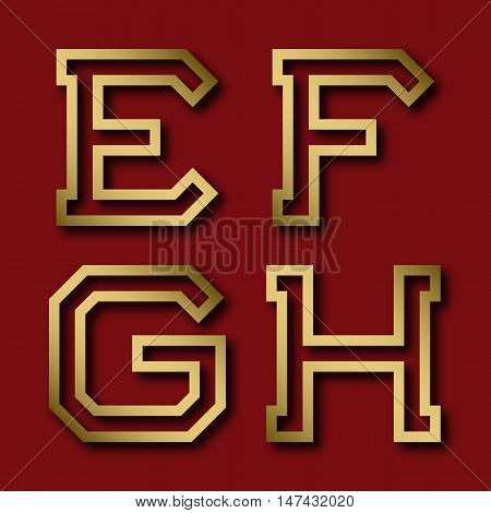 E F G H gold angular letters with shadow. Trendy and stylish golden font.