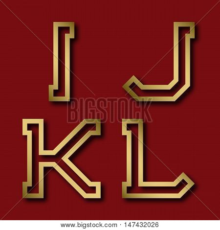 I J K L gold angular letters with shadow. Trendy and stylish golden font.