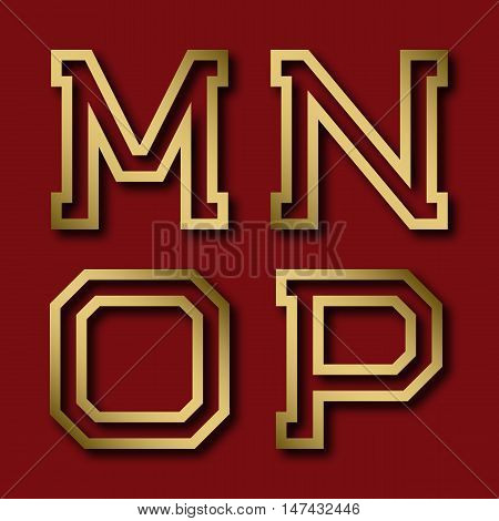 M N O P gold angular letters with shadow. Trendy and stylish golden font.