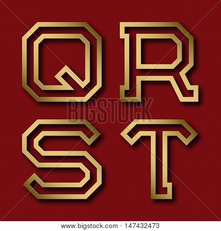 Q R S T gold angular letters with shadow. Trendy and stylish golden font.