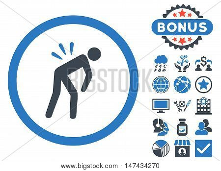 Backache icon with bonus design elements. Vector illustration style is flat iconic bicolor symbols, smooth blue colors, white background.