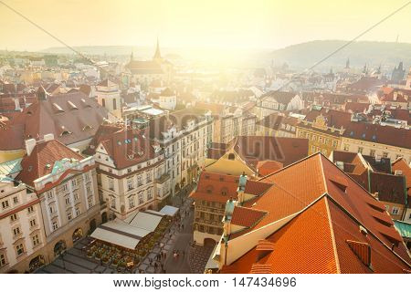 Aerial view of Prague city with red rooftops , beautiful old city center, Czech Republic, European travel