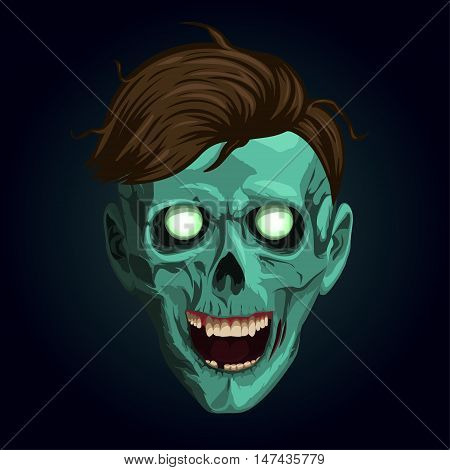 Halloween zombi zombie monster beast skeleton freak skull head hipster hairstyle open month teeth eyes. Vector square closeup view en front face illustration signboard icon on blue background