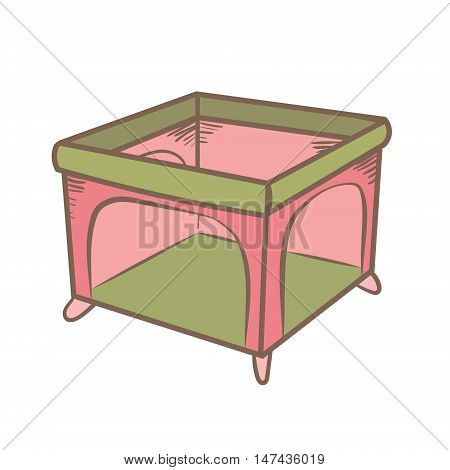 playpen doodle illustration. color handdrawn icon. isolated on white