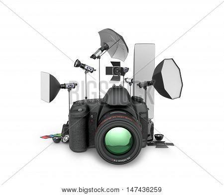 Photo studio concept. Camera and photo equipment on a white background. 3D illustration