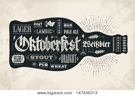 Bottle of beer with hand drawn lettering for Oktoberfest Beer Festival. Vintage drawing for bar menu, t-shirt print and beer themes. Isolated black bottle of beer with lettering. Vector Illustration