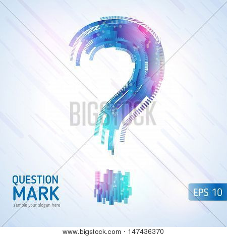 Abstract technology lines. Abstract question mark. Vector background