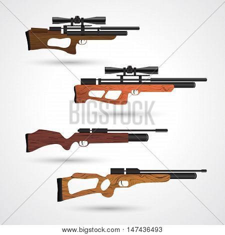 PCP compressed air hunting rifle. Airguns carbine. Pneumatic. Air rifle with optical sight isolated on white background. Pre-charged pneumatic