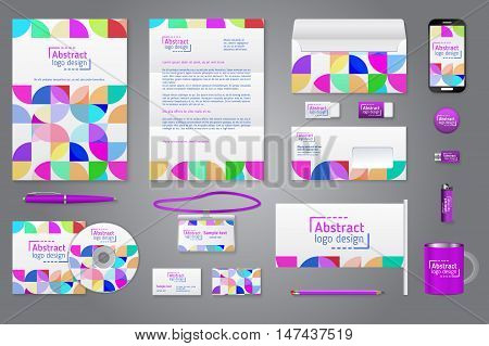 Corporate identity branding template. Business documentation. Business stationery mock-up with logo. Colorful quarter background. Purple element . Pen and pencil phone document badge letter envelope