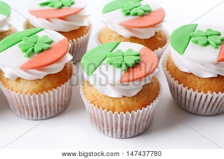 Tasty cupcakes, closeup. Saint Patrics Day concept
