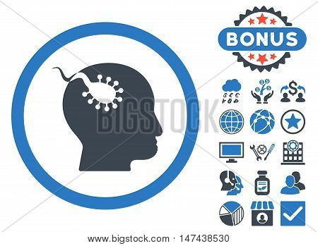 Brain Parasite icon with bonus design elements. Vector illustration style is flat iconic bicolor symbols, smooth blue colors, white background.