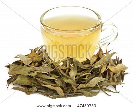 Ayurvedic medicinal Chirata with herbal tea in a cup over white background