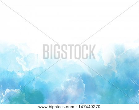 Blue colors Watercolor art border background with copy space for your text