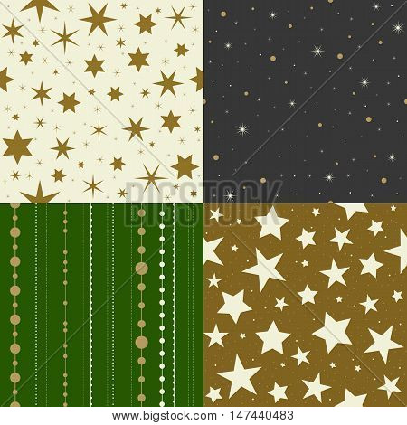seamless pattern star, chain, christmas ball chains, design for Christmas and new year theme, for wrapping paper, background, backdrop
