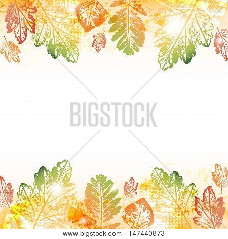 Abstract autumn leaves imprints background with space to your text