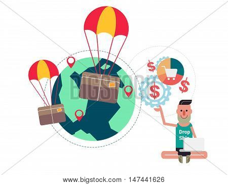 Package Flying On Parachute And Business Man Vector Illustration