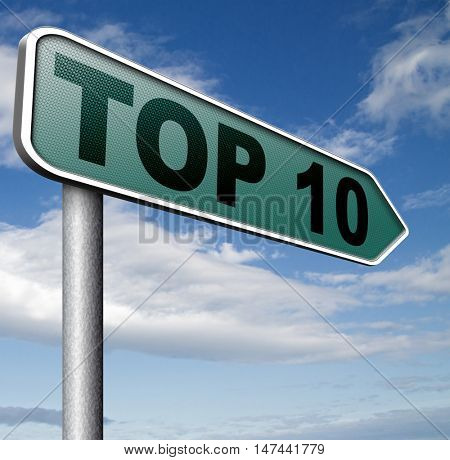 top 10 charts list pop poll result  and award winners chart ranking music hits best top ten quality rating prize winner   3D illustration