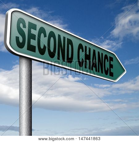 second chance try again another new fresh start or opportunity give a last attempt 3D illustration