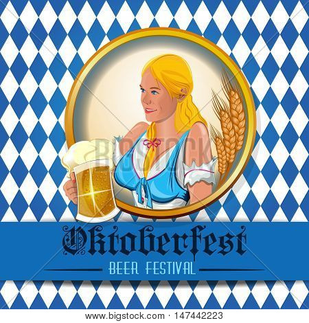 Oktoberfest design with beautiful cute girl with a beer glass in hand. Beer Festival. Vector illustration