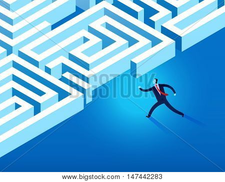 Business Man Running Into Maze Vector Illustration