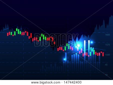 Stock Market Chart Vector Illustration