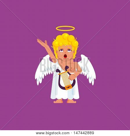 Stock vector illustration an Angel with harp sings a song, character for halloween in a flat style