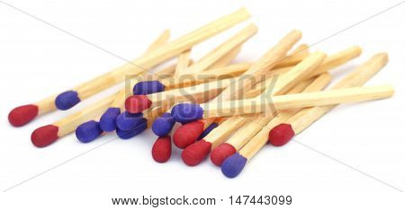 Close up of Matchsticks over white background
