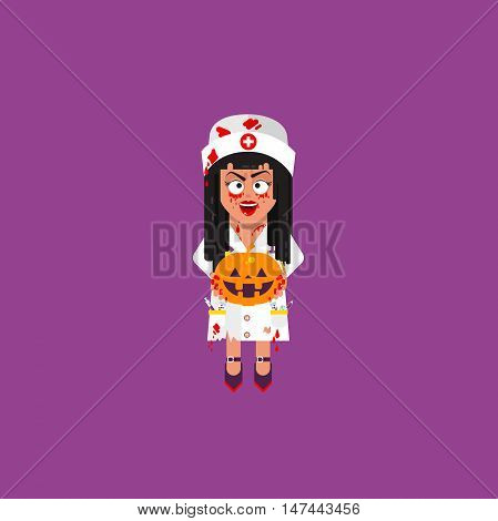 Stock vector illustration a bloody woman doctor, nurse holding a pumpkin, character for halloween in a flat style