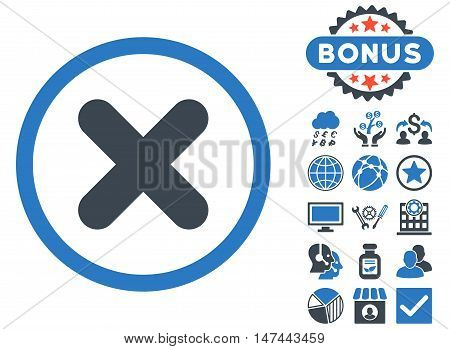 Cancel icon with bonus images. Vector illustration style is flat iconic bicolor symbols, smooth blue colors, white background.