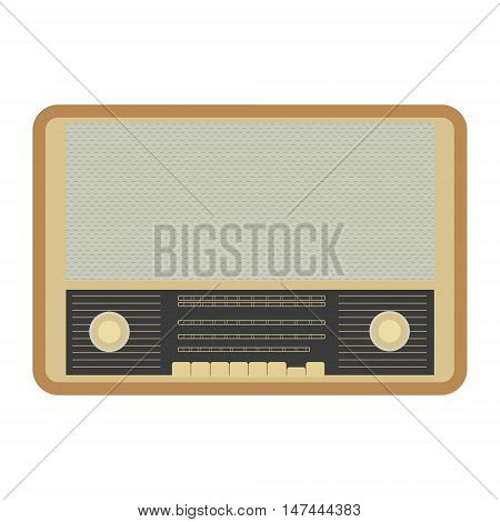 Retro Radiogramophone Icon. Music Gadget From 21-st Century. Old Musical Device Vector Illustration.