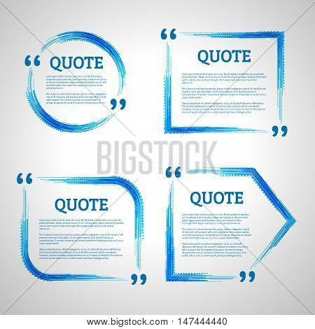 Modern block quote design elements. Quote text template. Technology lines. Technology lines quote frames